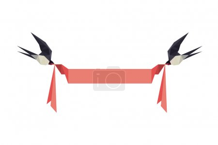 Illustration with origami swallows holding banner