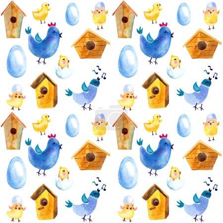 Photo pour Dessin ressort sans couture ensemble. oiseaux, nichoirs et œufs - image libre de droit