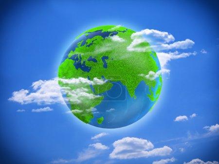 Photo pour Terre. écologie. planète verte sur fond bleu - image libre de droit