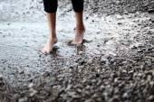 Feet in seawater