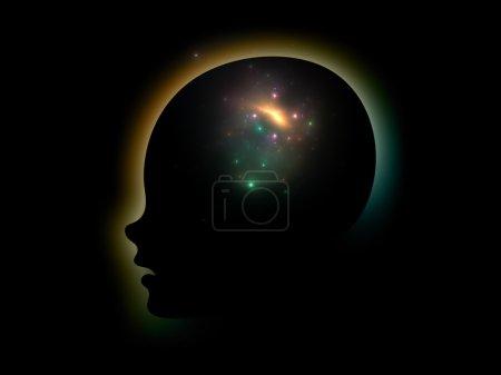 Photo pour Série de géométrie mentale. Composition des éléments du profil humain, des mathématiques et du design ayant un rapport métaphorique avec la raison, la science, la technologie et l'éducation - image libre de droit