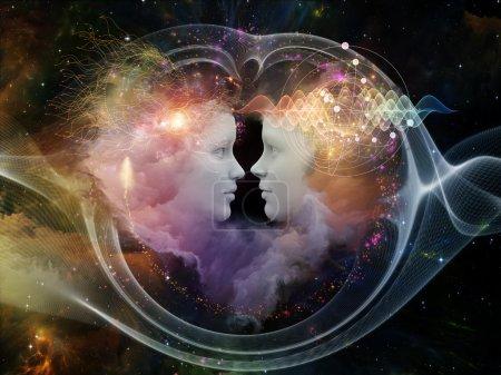 Photo pour Série de rêves humains. composition de formes humaines fusionnés, les formes fractales et les textures pour servir de toile de fond prise en charge pour les projets sur l'esprit, l'imagination, l'unité, amitié et amour - image libre de droit