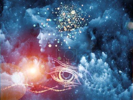 Photo pour Série Dreaming Intellect. Aménagement du visage humain et des éléments technologiques sur le sujet de l'esprit, de la raison, de l'intelligence et de l'imagination - image libre de droit