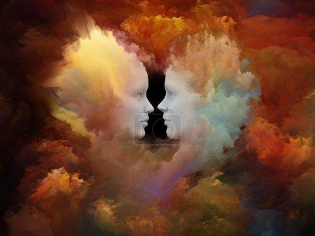 Photo pour Série Human Dreams. Conception de toile de fond de formes humaines fusionnées, de formes fractales et de textures pour fournir une composition de soutien pour les œuvres sur l'esprit, l'imagination, l'unité, l'amitié et l'amour - image libre de droit