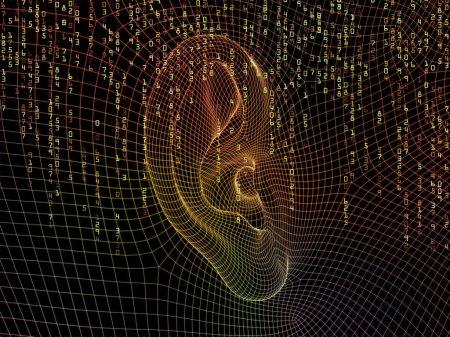 Photo pour Série de perception. conception faite d'éléments de structure apparente et fractal de l'oreille humaine pour servir de toile de fond pour les projets liés à l'audience, son numérique et la perception - image libre de droit