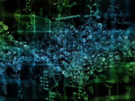 Photo pour Série Molecular Dreams. Conception abstraite faite d'atomes conceptuels, de molécules et d'éléments fractaux sur le sujet de la biologie, de la chimie, de la technologie, de la science et de l'éducation - image libre de droit