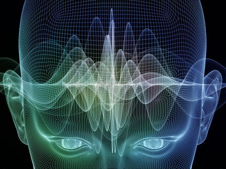 Photo for Frame of Mind series. Backdrop design of human face wire-frame and wave elements to provide supporting composition for works on mind, reason, thought, mental powers and mystic consciousness - Royalty Free Image