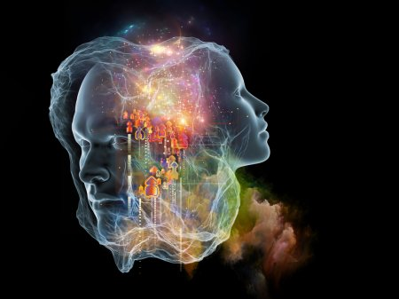 Photo for Next Generation AI series. Background design of fusion of human head and fractal shape on the subject of mind, consciousness and spirituality - Royalty Free Image