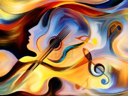 Photo pour Série de mélodies intérieures. Fond de formes humaines et musicales colorées sur le thème de la spiritualité de la musique et des arts de la scène - image libre de droit