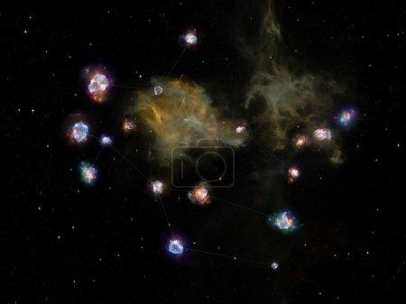 Photo pour Série Star Glow. Composition d'éléments fractaux, de lignes de constellation et de lumières adaptées aux projets sur l'Univers, le cosmos, l'astronomie, l'astrologie et l'éducation - image libre de droit