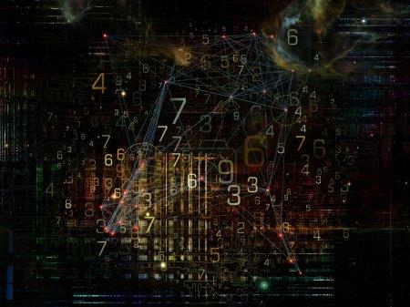 Photo pour Série Information Cloud. Contexte d'éléments abstraits connectés pour compléter votre conception sur le thème du réseau cloud, de l'information, du stockage de données et de la technologie moderne - image libre de droit