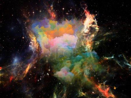 Photo pour Il était une fois dans l'espace. Abstraction artistique composée de nuages fractaux sur l'Univers, le cosmos, l'astronomie, la science et l'éducation - image libre de droit