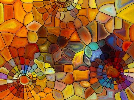 Foto de Serie de patrones de vidrieras. Arreglo de los fragmentos de vidrieras virtuales sobre el tema del arte, arte y diseño - Imagen libre de derechos