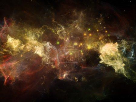 Photo pour Il était une fois dans l'espace. Interaction des nuages fractaux au sujet de l'Univers, du cosmos, de l'astronomie, de la science et de l'éducation - image libre de droit