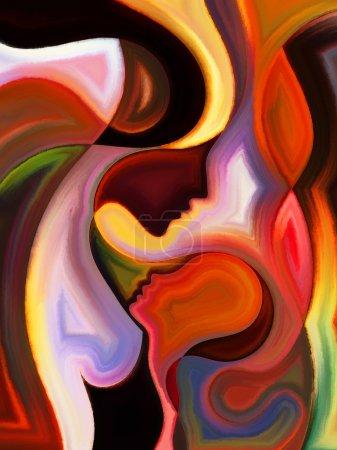 Photo pour Série Parent Connection. Contexte de gracieuses lignes de profil de la mère et de l'enfant au sujet du rôle parental, de la maternité, du lien humain et de la famille - image libre de droit
