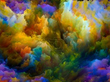 Photo pour Série Dynamic Color. Fond composé de nuages fractaux colorés et d'éléments graphiques et adapté à une utilisation dans les projets sur les forces de la nature, l'art, le design et la créativité - image libre de droit