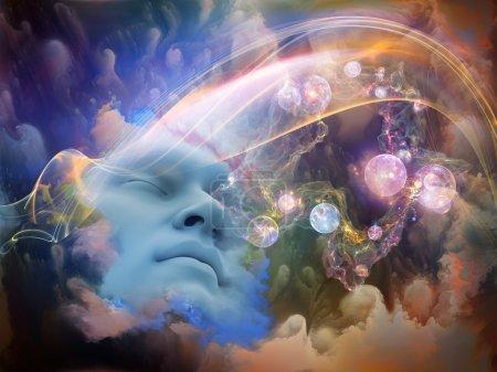 Photo pour Série Dream Wave. Conception de fond du visage humain et des nuages fractaux colorés sur le sujet des rêves, de l'esprit, de la spiritualité, de l'imagination et du monde intérieur - image libre de droit