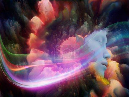 Photo pour Lucid Dreaming series. Conception de fond du visage humain et des nuages fractaux colorés sur le sujet des rêves, de l'esprit, de la spiritualité, de l'imagination et du monde intérieur - image libre de droit