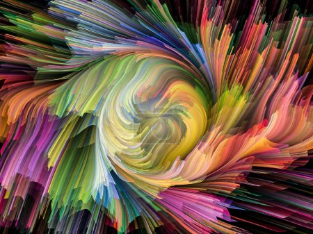 Photo for Dynamic Color series. Design made of streams of paint to serve as backdrop for projects related to forces of nature, art, design and creativity - Royalty Free Image