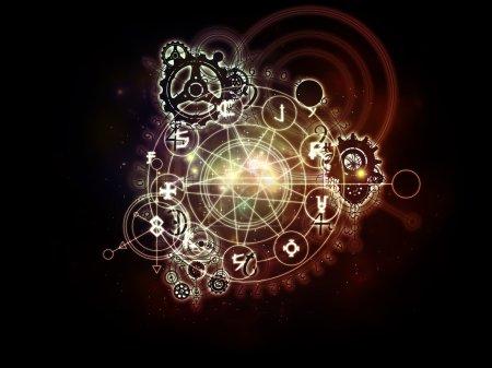 Photo pour Orbites du destin. Conception abstraite faite de symboles sacrés, de signes, de géométrie et de dessins sur le sujet de l'astrologie, de l'alchimie, de la magie, de la sorcellerie et de la fortune - image libre de droit