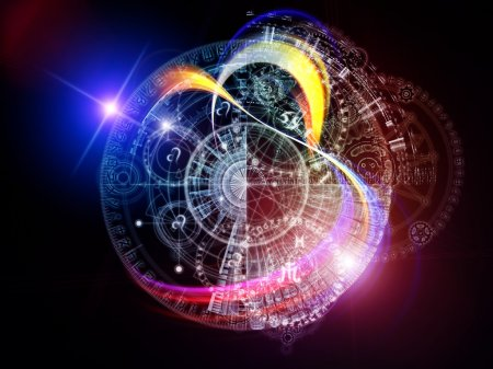 Photo pour Orbites du destin. Composition abstraite de symboles sacrés, signes, géométrie et dessins appropriés comme élément dans des projets liés à l'astrologie, à l'alchimie, à la magie, à la sorcellerie et à la bonne aventure - image libre de droit