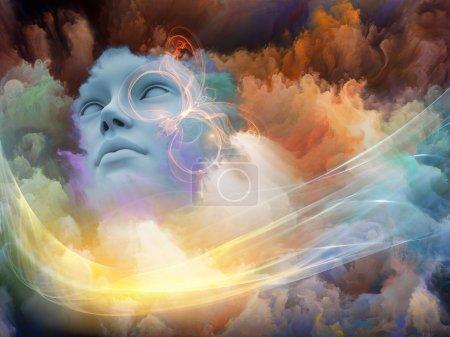 Photo pour Série Brainwaves. Design composé de visage humain et de nuages fractaux colorés comme métaphore sur le sujet des rêves, de l'esprit, de la spiritualité, de l'imagination et du monde intérieur - image libre de droit