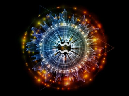Photo for Orbits of Destiny series. Background composition of  sacred symbols, signs, geometry and designs to complement your layouts on the subject of astrology, alchemy, magic, witchcraft and fortune telling - Royalty Free Image