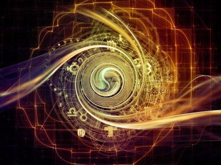 Photo pour Orbites du destin. Disposition abstraite des symboles sacrés, des signes, de la géométrie et des dessins appropriés comme arrière-plan pour des projets sur l'astrologie, l'alchimie, la magie, la sorcellerie et la bonne aventure - image libre de droit