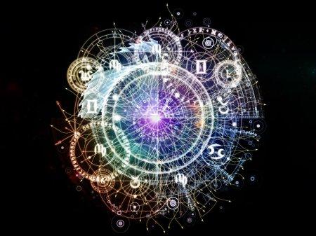 Photo pour Orbites du destin. Disposition des symboles sacrés, des signes, de la géométrie et des dessins au sujet de l'astrologie, de l'alchimie, de la magie, de la sorcellerie et de la bonne aventure - image libre de droit