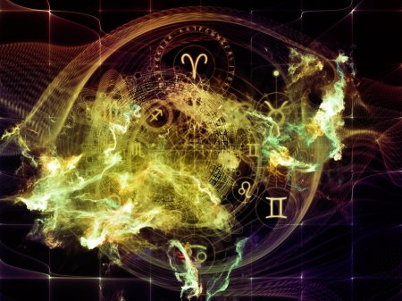 Photo for Orbits of Destiny series. Design made of sacred symbols, signs, geometry and designs to serve as backdrop for projects related to astrology, alchemy, magic, witchcraft and fortune telling - Royalty Free Image