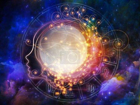 Foto de Serie de Luna interior. telón de fondo de luna, perfil humano y símbolos astrológicos sobre el tema del mundo de los espíritus, sueños, imaginación, la astrología y la mente - Imagen libre de derechos