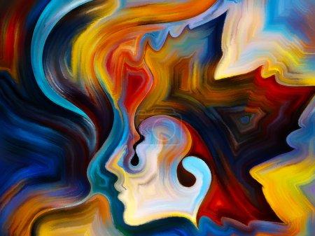 Photo pour Couleurs de la série Mind. abstraction artistique composée d'éléments du visage humain, et des formes abstraites colorées sur le sujet de l'esprit, la raison, la pensée, l'émotion et la spiritualité - image libre de droit