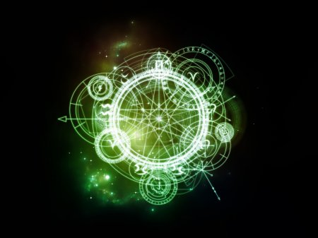 Photo for Orbits of Destiny series. Composition of sacred symbols, signs, geometry and designs with metaphorical relationship to astrology, alchemy, magic, witchcraft and fortune telling - Royalty Free Image
