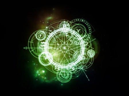 Photo pour Orbites du destin. Composition des symboles sacrés, des signes, de la géométrie et des dessins ayant un rapport métaphorique avec l'astrologie, l'alchimie, la magie, la sorcellerie et la bonne aventure - image libre de droit