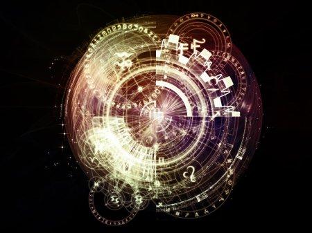 Photo pour Orbites de la série Destiny. Arrangement des symboles sacrés, de signes, de géométrie et de dessins sur le thème de l'astrologie, alchimie, magie, sorcellerie et voyance - image libre de droit