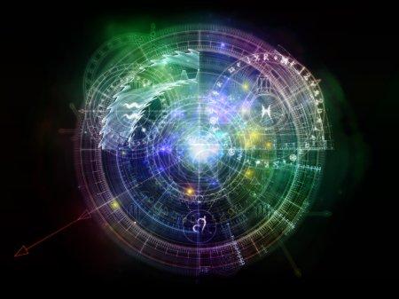Photo pour Orbites du destin. Composition de fond de symboles sacrés, signes, géométrie et dessins pour compléter vos mises en page sur le sujet de l'astrologie, de l'alchimie, de la magie, de la sorcellerie et de la bonne aventure - image libre de droit