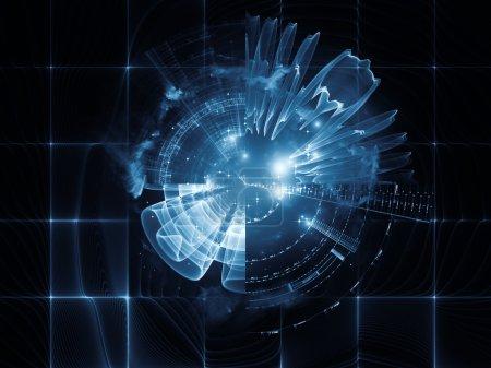 Photo pour Géométrie de la série Espace virtuel. Composition de fond de formes abstraites, de couleurs et d'éléments pour compléter vos mises en page sur le sujet de la réalité virtuelle, de la technologie, de la science et du design - image libre de droit