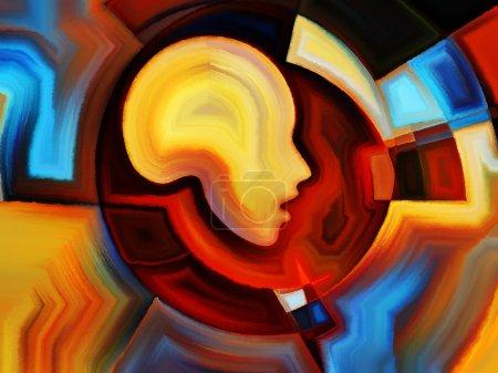 Photo pour Angles de série hommes. composition de couleurs, de formes et de profils humains avec une relation métaphorique à l'art, la religion et graphisme - image libre de droit