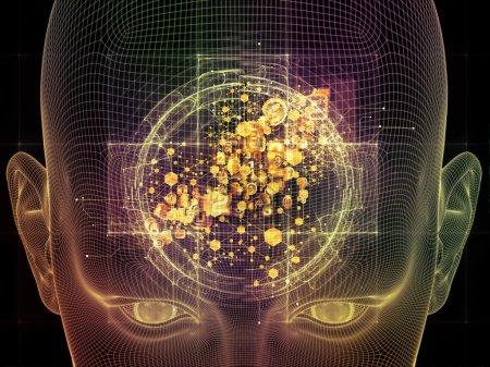 Photo pour Série Frame of Mind. Conception abstraite faite d'armature de fil de visage humain et d'éléments fractaux sur le sujet de l'esprit, la raison, la pensée, les pouvoirs mentaux et la conscience mystique - image libre de droit