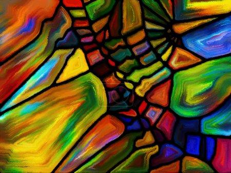 Photo pour Modèles de série de couleur. Design de fond du motif vitraux peints sur le thème de l'imagination, la créativité et art - image libre de droit