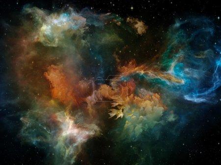 Foto de Serie de recuerdo muerta. Composición de la nebulosas, orgánicas de formas y colores sobre el tema de la mente, sueño, espiritualidad e imaginación - Imagen libre de derechos