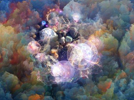 Photo pour Série Dream Surface. Fond artistique fait de nuages fractaux colorés et d'éléments graphiques pour une utilisation avec des projets sur les rêves, la spiritualité et l'imagination - image libre de droit