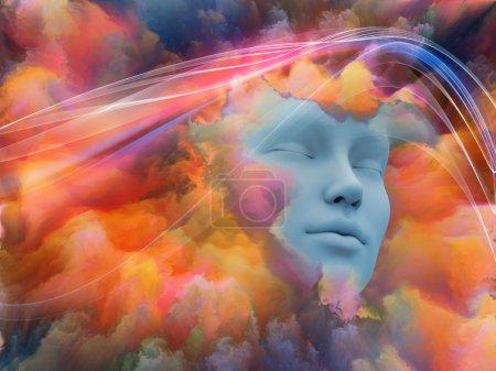 Photo pour Lucid Dreaming series. Conception abstraite faite de visage humain et de nuages fractaux colorés au sujet des rêves, de l'esprit, de la spiritualité, de l'imagination et du monde intérieur - image libre de droit