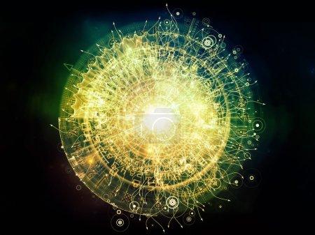 Photo pour Orbites du destin. Fond composé de symboles sacrés, signes, géométrie et dessins et adapté pour une utilisation dans les projets sur l'astrologie, l'alchimie, la magie, la sorcellerie et la bonne aventure - image libre de droit