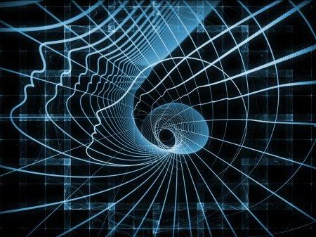Foto de Geometría de la serie alma. arreglo creativo de las líneas del perfil de la cabeza humana como una metáfora del concepto en materia de educación, ciencia, tecnología y diseño gráfico - Imagen libre de derechos