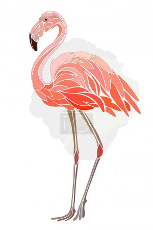 Graphic, stylized drawing of flamingos