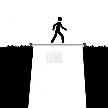 Illustration for Cartoon illustration showing a man walking over a precipice using only a tight rope - Royalty Free Image