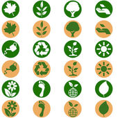 Icon set showing environmental themed buttons in two different flat design color scheme