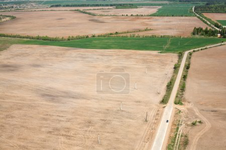 Aerial View - Russian meadows and fields