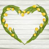 Yellow tulips on a wooden surface EPS 10 vector file included